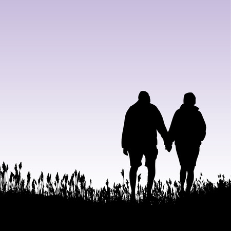 A man and woman walking in a field Vector
