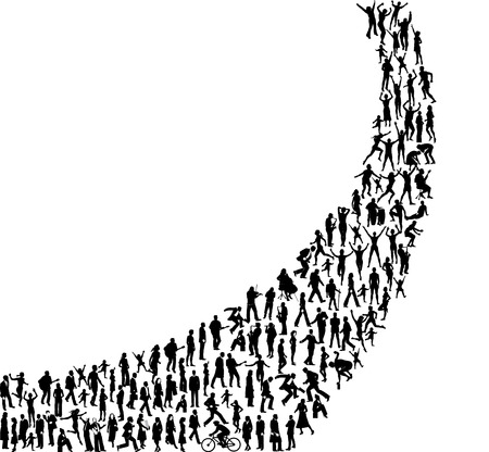 A swash shape made of people in all types of activities