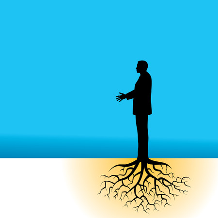 joined hands: a well rooted businessman Illustration