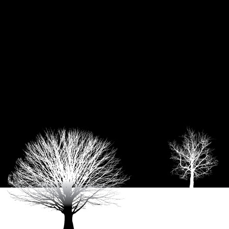 four objects: bare tree vector background Illustration