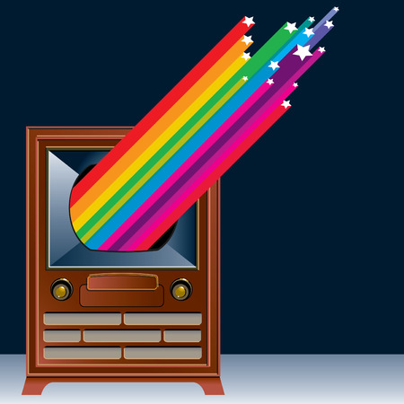 channels: Television with colorful shooting stars coming out of it Illustration