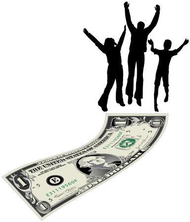 A family jumps for joy atop a dollar bill Vector