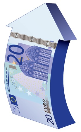 A detailed vector drawing of a 20 euros banknote made into an upward arrow