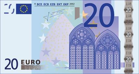 A detailed vector drawing of a 20 euros banknote