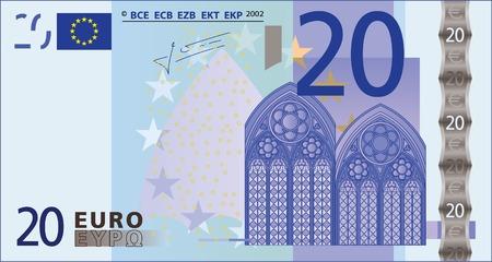 Een gedetailleerde vector tekening van een bank biljet van 20 euro