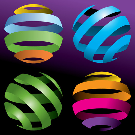 A set of four abstract vector globes