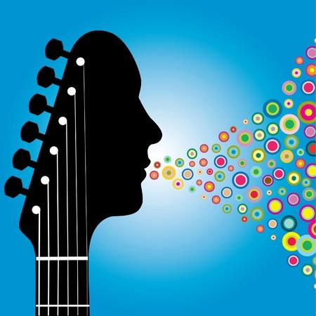 Guitarra cabezal hombre con círculos Foto de archivo - 4437362