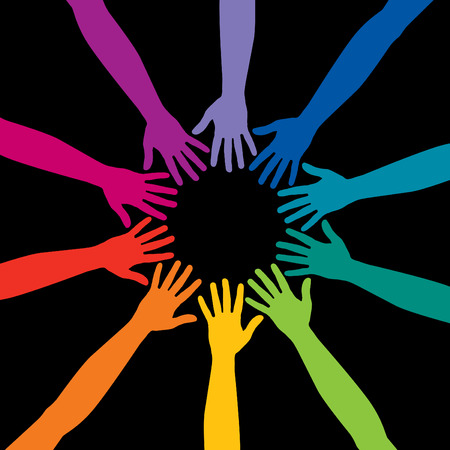 A diverse circle of hands background, in vector format Vector