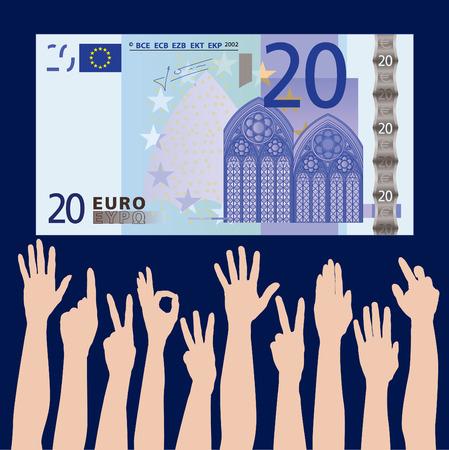 Many hands grab at a 20 euros bank note