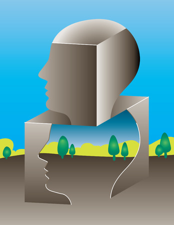 outside box: Thinking outside of the box landscape Illustration