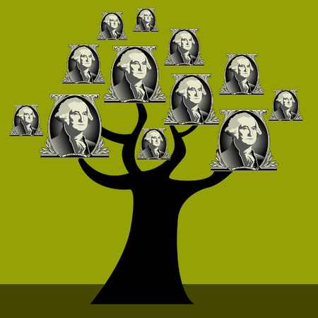 A vector drawing of a money tree with george washington as its fruit Illustration