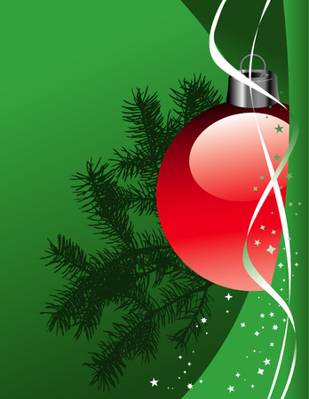 A Christmas background with stars, ribbon and ornaments Vector
