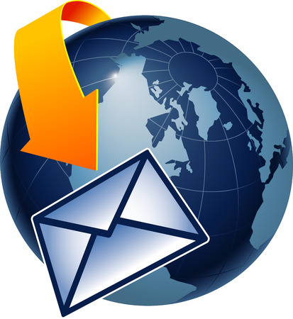 http: A depiction of how email encircles the earth Illustration