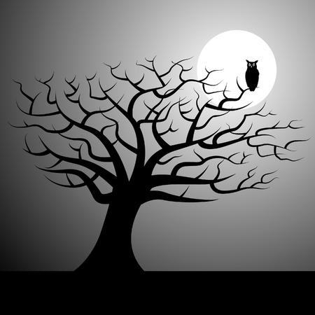 Een halloween vector achtergrond met een boom en een uil Stock Illustratie