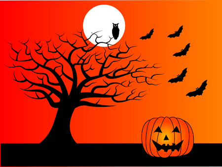 A halloween vector background with a tree, moon, bats and an owl Çizim