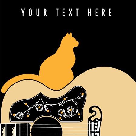 guitarra acustica: Guitarra ac�stica con un gato Vectores