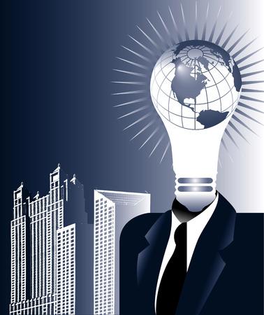 Globe lightbulb Man in a Suit  Illusztráció