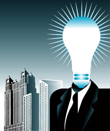 Lightbulb Man in a Suit