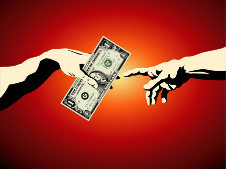 A dollar is passed from one hand to another in this creation of Adam business background