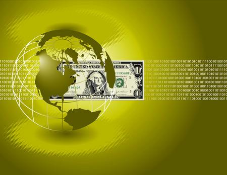A binary, digital background with a globe and a dollar bill