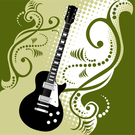 A precisely drawn electric guitar is placed in this vector grunge background Vector