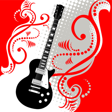 precisely: A precisely drawn electric guitar is placed in this vector grunge background