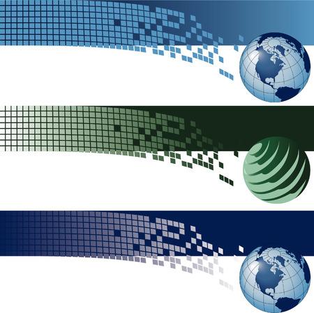 Website banner backgrounds. Three vector corporate technology site website banner backgrounds Çizim