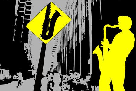サックス奏者とサックス記号抽象音楽風景