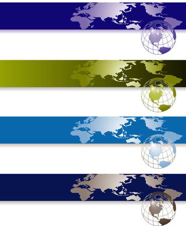 website backgrounds: Website banner backgrounds. Four vector corporate technology site website banner backgrounds Illustration
