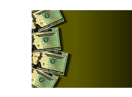 A vector background showing four twenty dollar bills with space for text Stock Vector - 4536963