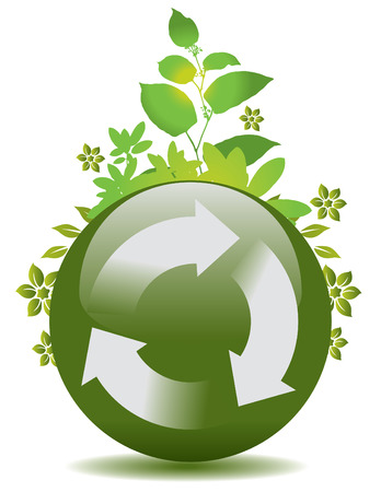 A vector green globe with a recycle symbol and flora Stock Vector - 4522132