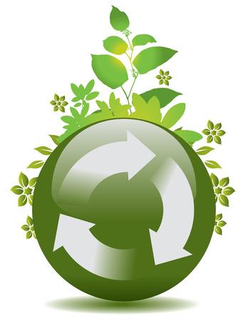 wereldbol groen: Een vector groene wereld bol met een recycle symbool en de flora