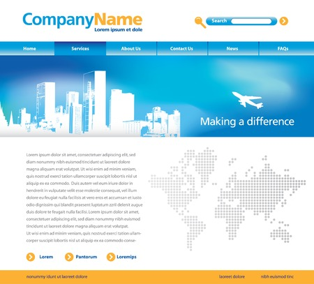 Editable vector website template with cityscape, jet and map