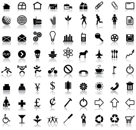 Een set van tweeënzeventig vector pictogram symbolen met reflecties Stock Illustratie