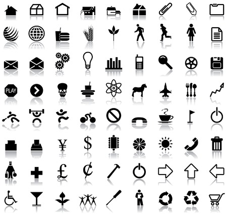 A set of seventy two vector icon symbols with reflections