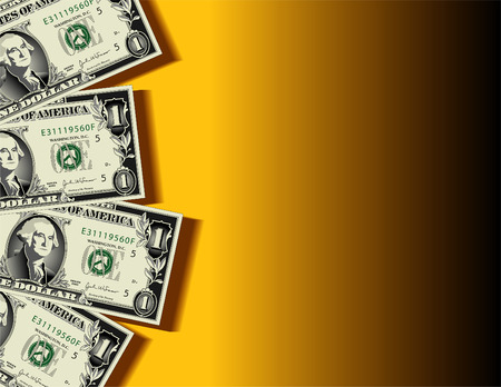 A vector background showing four dollar bills with space for text Stock Vector - 4537027