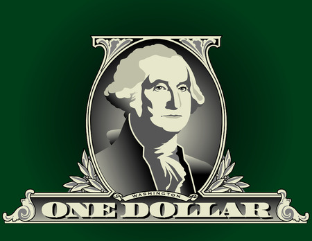 president of the usa: Portrait of George Washington on a one dollar bill