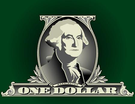 Portret van George Washington op een stuk lijst één dollar