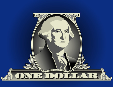one dollar bill: Portrait of George Washington on a one dollar bill