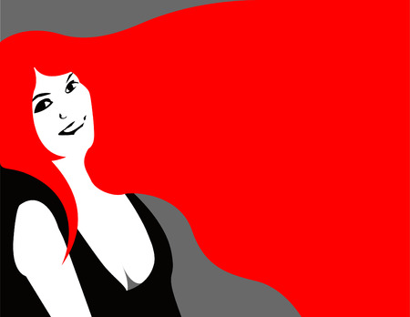 lllustration of a beautiful woman, her long, red hair as a background for text.