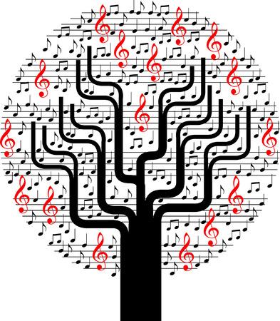 ノートと抽象的な音楽のベクトル ツリーの背景色