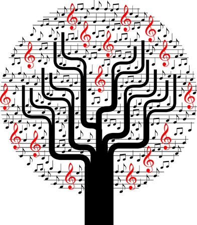 An abstract musical vector tree background with notes