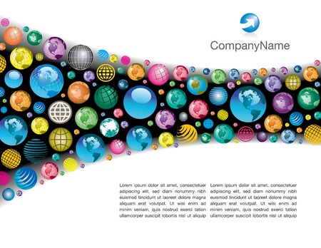 A colorful, corporate global vector page layout background