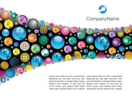 De achtergrond van de pagina lay-out van een kleurrijke, corporate global vector