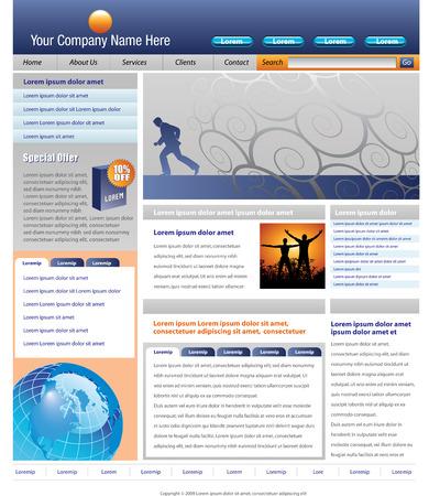 Bewerkbare vector website sjabloon met interessante visuele effecten  Stock Illustratie