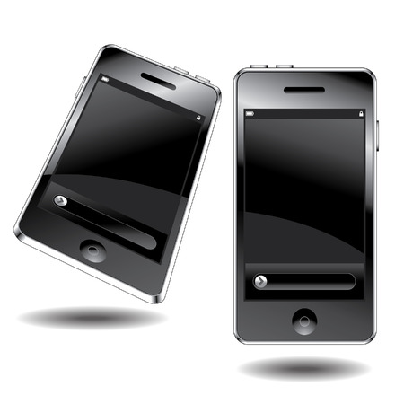 Two views of a modern mobile phone Vector