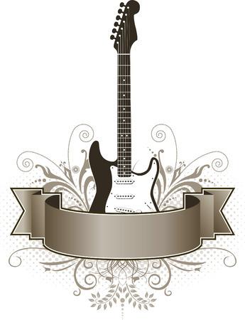 acustica: Un funky, grunge chitarra striscione con lo spazio per il testo Vettoriali