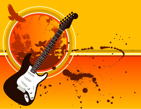 A solid body electric guitar is centerpiece to this grunge music background Vector