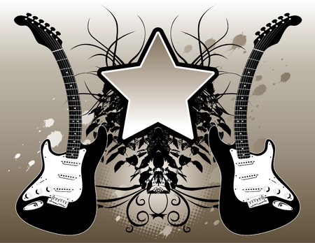 making music: Illustration of two electric guitars making a music background.