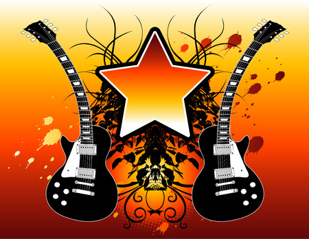 illustration of electric guitars and a star with space for text. Ilustração